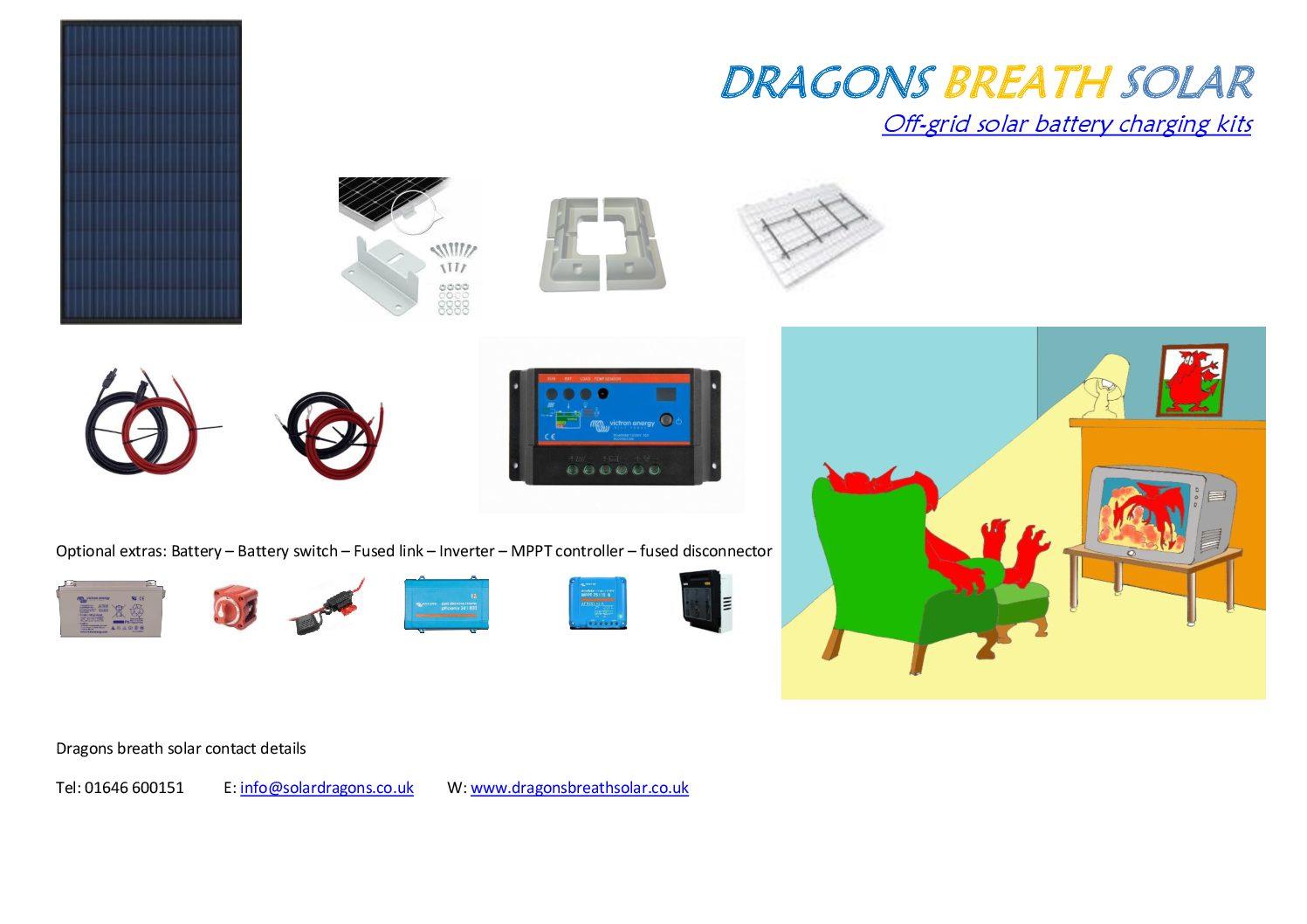 Battery solar charging kit