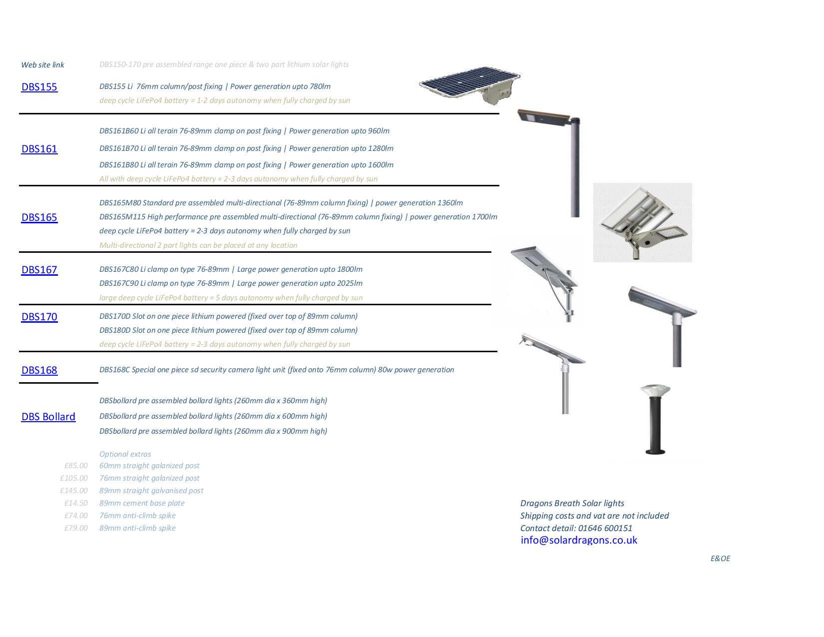 Dragons Breath Solar bespoke street lights web site data links