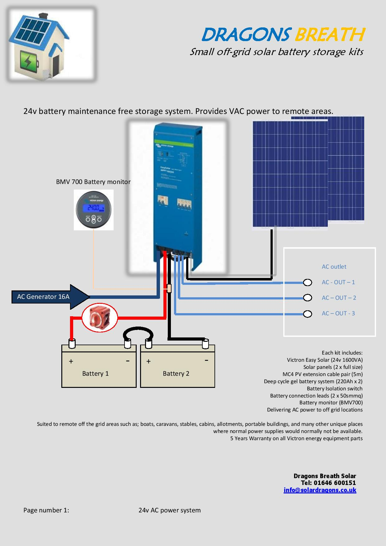 Easy Solar off the grid complete kits ready to run VAC 230v power in remote locations.