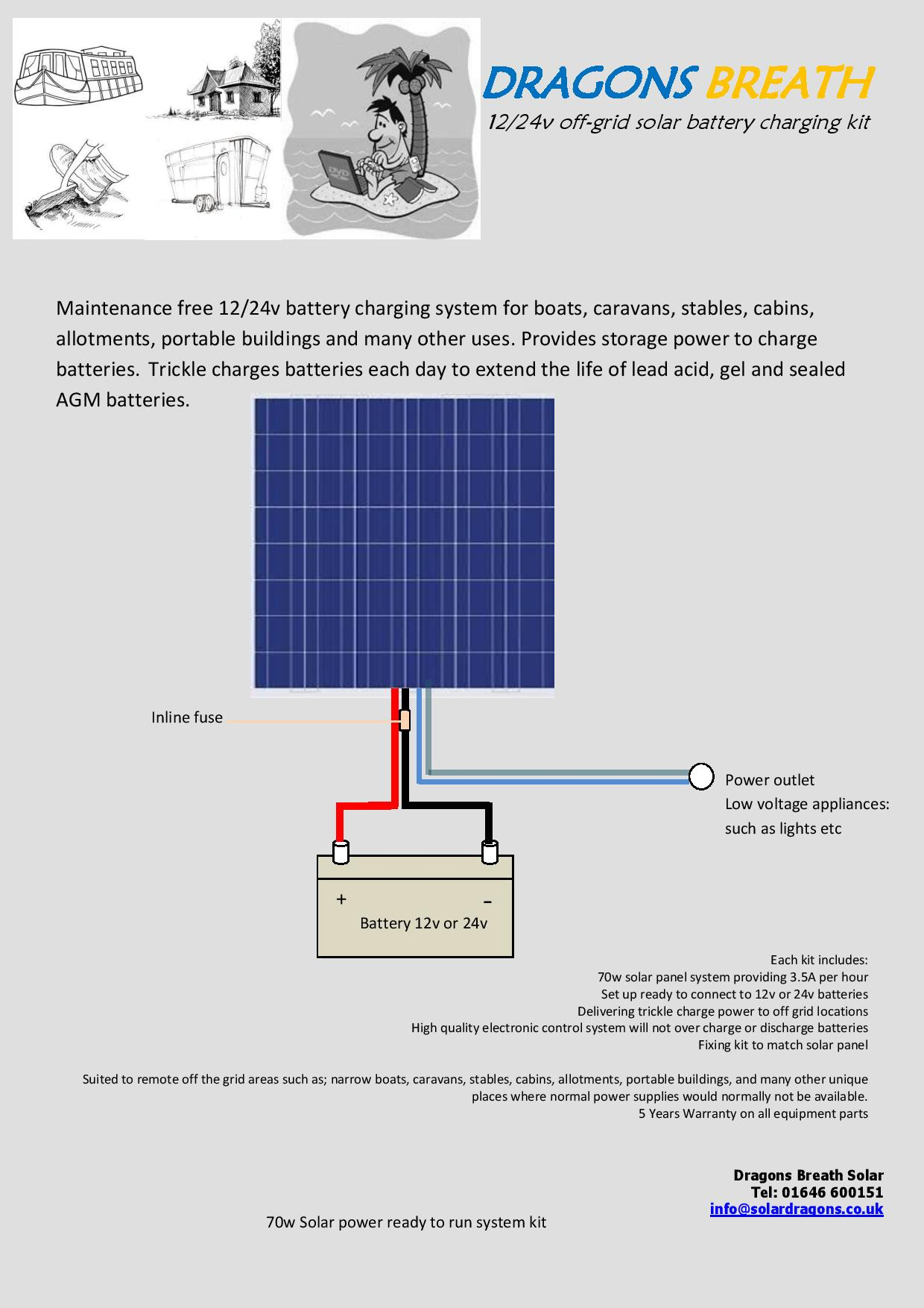 Solar powered battery trickle charging system for boats, cabins, allotments, mobile homes