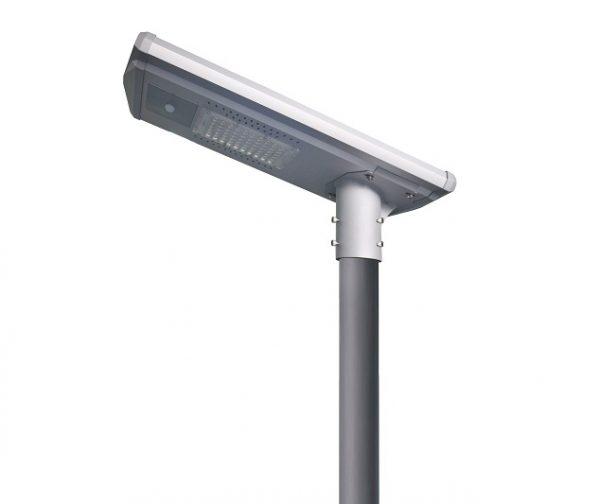 Slot over top of post solar street light