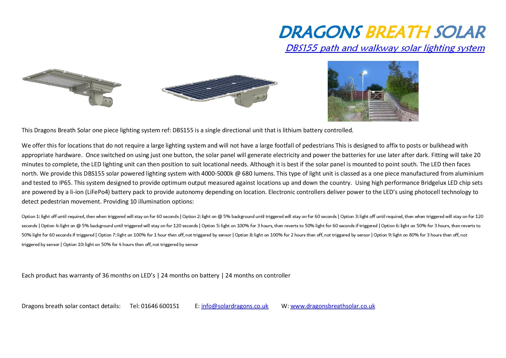 DBS155 caravan pathway solar lighting system
