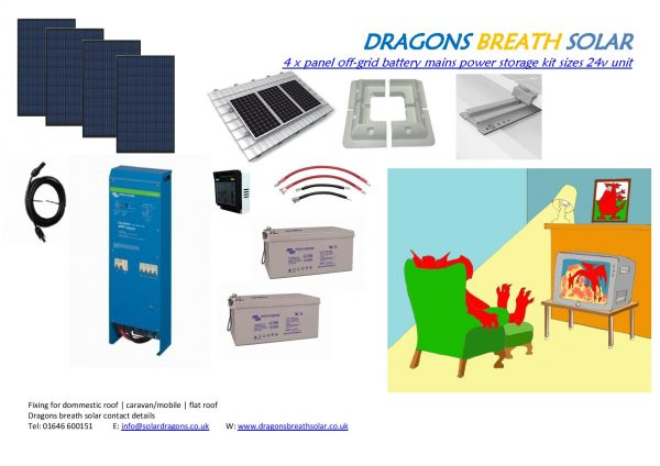 Dragons Breath solar 1600w inverter power system @ 24v. This off the grid all in one kit includes panels, batteries, fixings, cables, switches etc.
