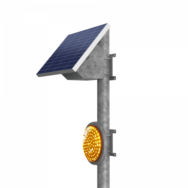 Solar powered entry amber flashing light system