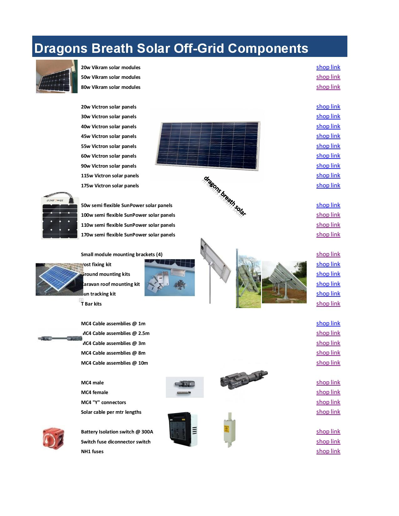 Off grid solar components list of parts