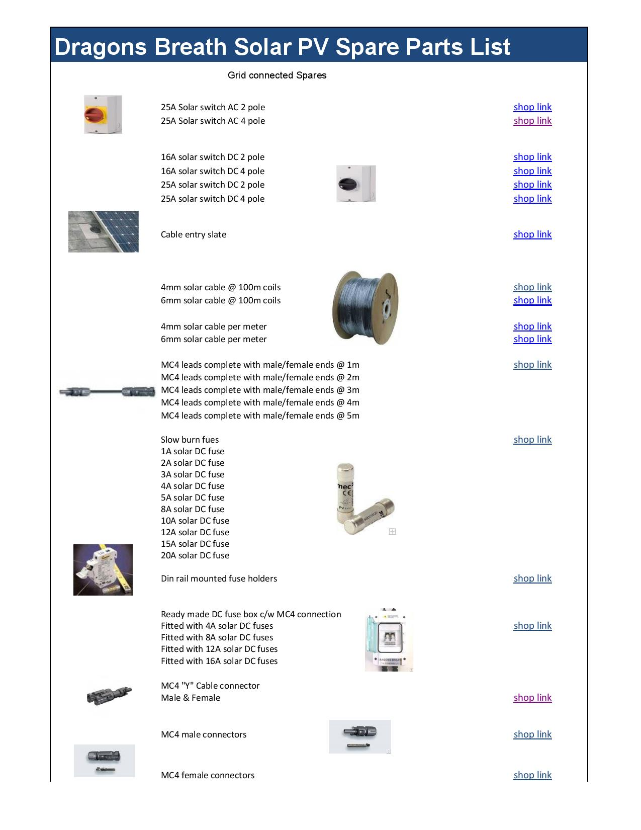 Grid solar components list of spare parts