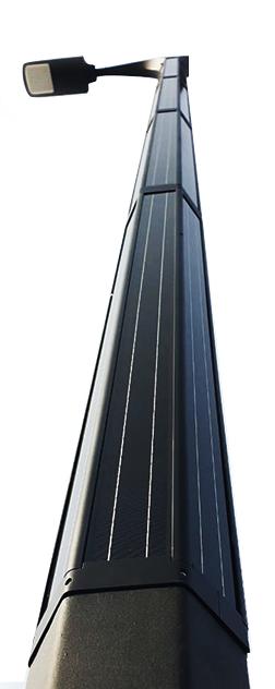 Vertically powered solar street light system