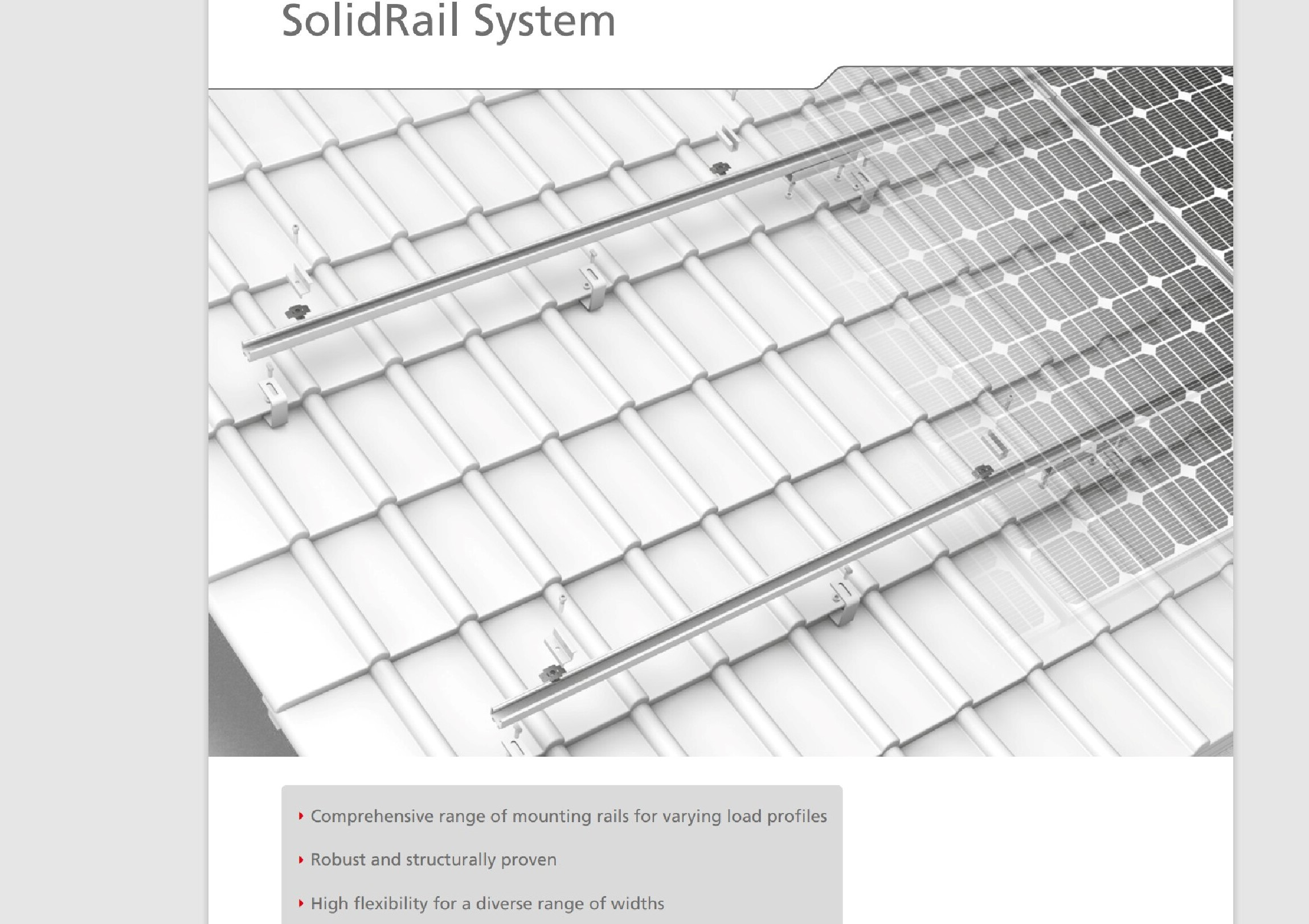On roof solar panel fixing example